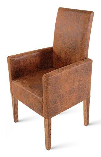 SAM® Esszimmer Armlehnstuhl, Relaxsessel Trevi in brauner Wildlederoptik, SAMOLUX®-Bezug, Stuhl mit Pinienholz-Beinen in stone, Esszimmerstuhl mit angenehmer Polsterung für hohen Sitzkomfort