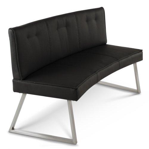 SAM® Esszimmer Sitzbank 3er Y-128-2 schwarz Edelstahl 152 cm angenehmer Sitzkomfort pflegeleicht ideal für jede Essgruppe Küche und Diele teilzerlegt Auslieferung durch Spedition