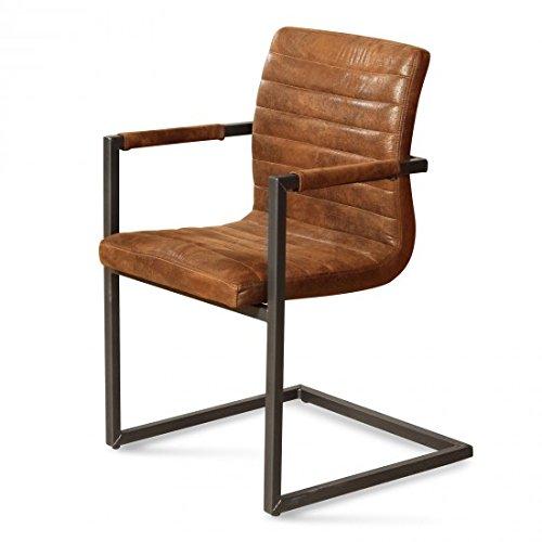 SAM® Polster Stuhl Armlehnenstuhl Parzivo in brauner antiker Wildleder-Optik, Schwingstuhl mit SAMOLUX®-Bezug, Metallfüße aus Eisengestell, angenehme Polsterung mit Armlehnen für optimalen Sitzkomfort