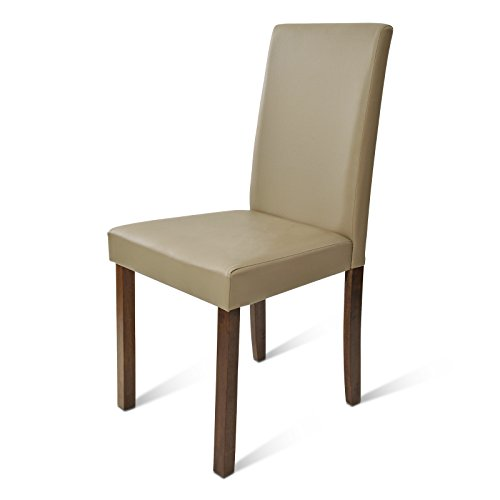 SAM® Polster-Stuhl Billi, Esszimmer-Stuhl in muddy, Massivholz-Beine in kolonial, bezogen mit einem SAM®-Lederimitat, angenehme Polsterung, Design-Stuhl für Küche und Esszimmer