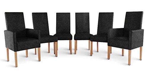 SAM® Spar Set 4+2 mit 4 x Stuhl Ava und 2 x Armlehnstuhl Arabella in grauer Wildlederoptik mit Stoff Bezug gräuliche Beine aus Pinienholz Pinie Stuhlset angenehme Polsterung pflegeleicht teilzerlegt Auslieferung durch Paketdienst