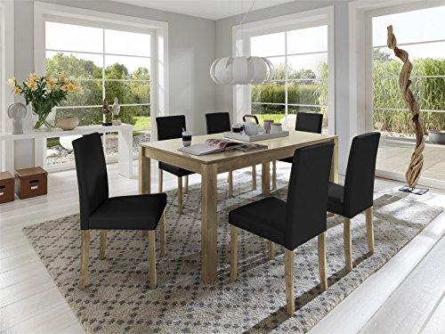 SAM® Tischgruppe Balin 7tlg. Kernbuche massiv geölt natürliche Maserung Holztisch 160 cm Esszimmergruppe sechs Stühle Billi schwarz Lederimitatbezug buche teilzerlegt Lieferung mit Spedition
