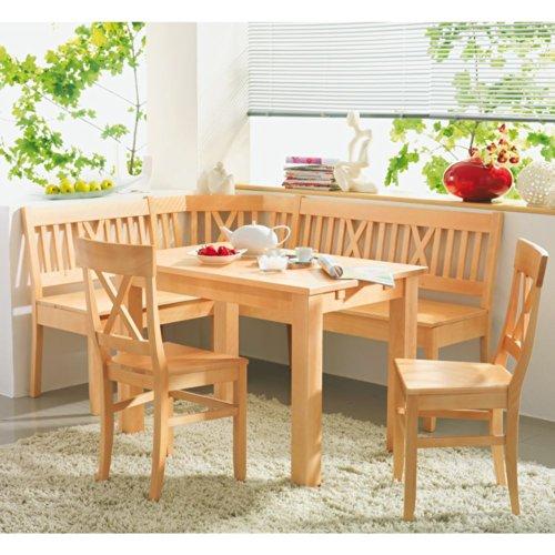 SET Linz Buche massiv Tisch Eckbank Stühle Pharao24