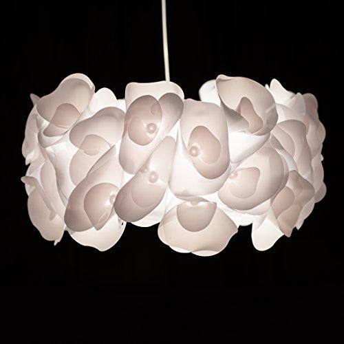 Sangu Pendelleuchte im Blumen Design mit 3D Blüten Effekt, Ø 49 cm, 1x E27 max. 60W, Metall / Kunststoff, weiß