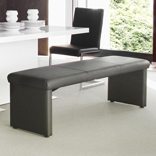 Sitzbank Esszimmerbank Leder schwarz Charly Breite 160 cm Sitzplätze 3 Sitzplätze Pharao24