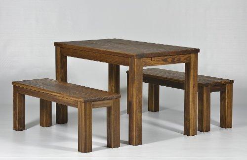 Sitzgruppe Garnitur mit Esstisch 150x73cm + 2 Bänke 150x38cm Pinie Massivholz, geölt und gewachst, Farbton Eiche antik