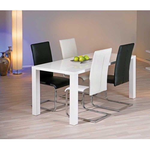 Tischgruppe Dorota in Weiß Hochglanz (5-teilig) Pharao24