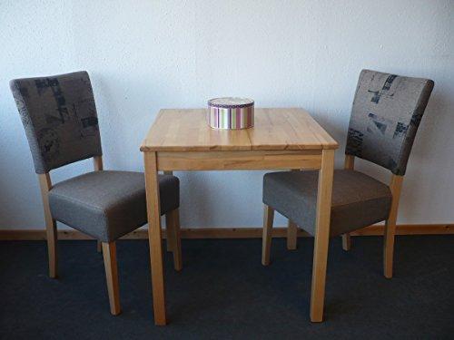 Tischgruppe Esszimmergruppe Sitzgruppe 3-tlg. Tisch 70x70 cm Stuhl Buche Stoff