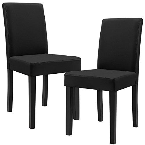 [en.casa] 2 Polsterstühle (schwarz - matt) (Hochqualitativ) mit Beinen aus Massivholz / Kunstlederbezug / elegant /