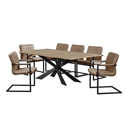[en.casa] Esstisch Eiche Natur mit 6 Stühlen Freischwinger gepolstert braun 200x100cm Esszimmer Essgruppe Küche