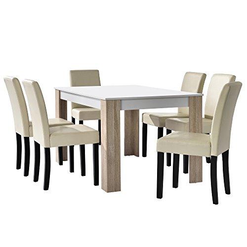 [en.casa] Esstisch Eiche weiß mit 6 Stühlen creme Kunstleder gepolstert 140x90 Essgruppe Esszimmer Set