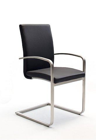 2 Stühle, Esszimmerstühle, Schwingstuhl, Freischwinger, Armlehnen, leder schwarz