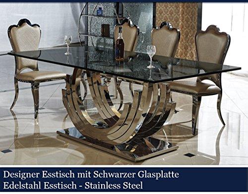 Designer esstisch schwarz edelstahl esszimmer tisch glastisch glas hochglanz schwarzer - Designer hangematte holzgestell ...