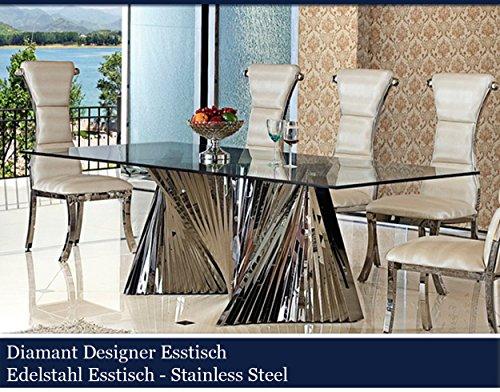 diamant designer esstisch edelstahl esszimmer tisch glastisch glas hochglanz 2 00 m x 1 00 m x. Black Bedroom Furniture Sets. Home Design Ideas