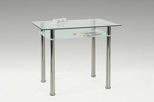 Dreams4Home Glastisch 'Melbourne II' - Esszimmertisch, Küchentisch, Beistelltisch, (B/H/T) ca. 90 x 76 x 60 cm, Esstisch, Tisch, Wohnzimmer, Esszimmer, Küche, in Klarglas/chrom