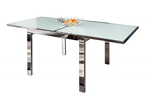 DuNord Design Esstisch Tisch ITALIA 90-180cm ausziehbar weiss chrom Design Glastisch Esszimmer