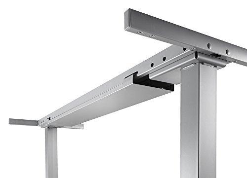 Elektrisch höhenverstellbares Tischgestell (stufenlos) für Tischbreite 180 cm, Arbeitshöhe 62,5 - 127,5 cm, 4 Speicherplätze, Sanftanlauf, Sanft-Stopp mit Kollisionsschutz, silber