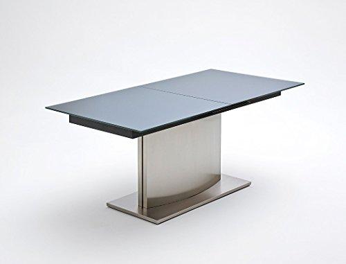 esstisch menard 180 220 x90x76 cm glastisch edelstahl ausziehtisch s ulentisch esszimmertisch. Black Bedroom Furniture Sets. Home Design Ideas