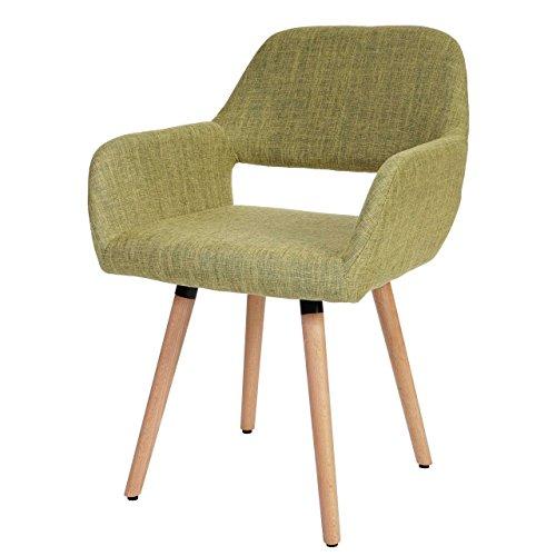 Esszimmerstuhl Altena II, Stuhl Lehnstuhl, Retro 50er Jahre Design ~ Textil, hellgrün