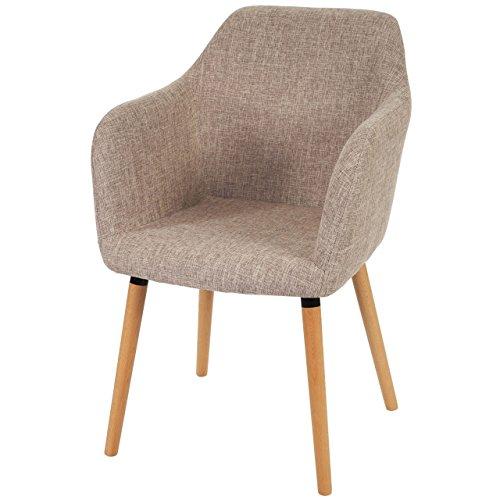 Esszimmerstuhl Malmö T381, Stuhl Lehnstuhl, Retro 50er Jahre Design ~ Textil, creme/grau