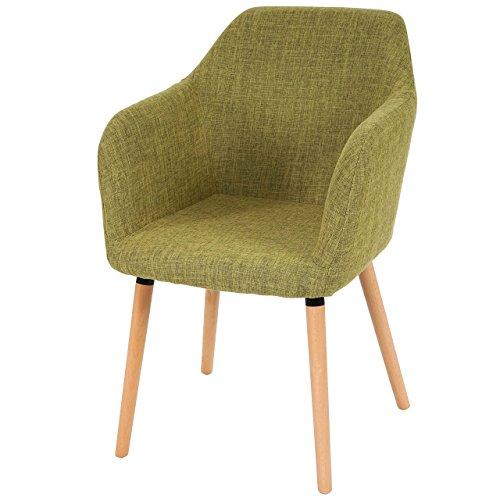 Esszimmerstuhl Malmö T381, Stuhl Lehnstuhl, Retro 50er Jahre Design ~ Textil, hellgrün