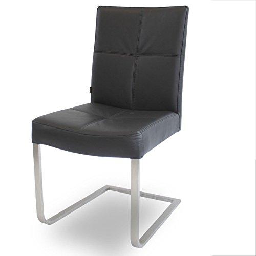 Freischwinger Lederstuhl Libero Edelstahl Stuhl Leder-Stühle Rindsleder Schwarz