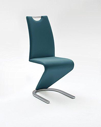 Freischwinger, Stühle, Küchenstühle, Esszimmerstühle Amado, Kunstleder petrol (2er-Set)