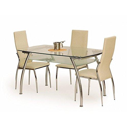 JUSThome Edgar Esszimmertisch Küchentisch Esstisch aus Glas (LxBxT): 135x80x74 cm