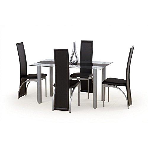 JUSThome Talon Esszimmertisch Küchentisch Esstisch aus Glas Transparent Schwarz (LxBxH): 140x80x74 cm