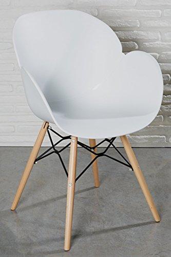 moderner designstuhl wei kunststoff esszimmerstuhl stuhl wohnzimmerstuhl retro holz. Black Bedroom Furniture Sets. Home Design Ideas