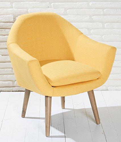 Polsterstuhl gelb mit Holzbeinen Esszimmerstuhl Esszimmersessel Loungesessel Sessel Modern