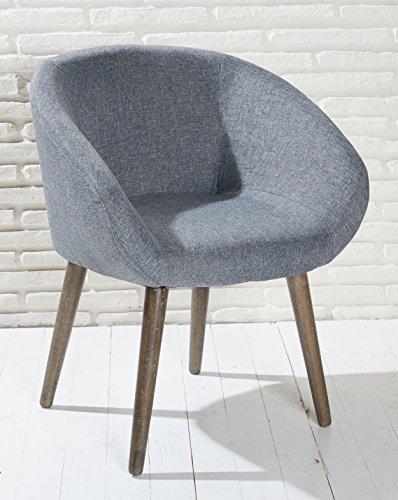Polsterstuhl grau mit Holzbeinen Esszimmerstuhl Esszimmersessel Loungesessel Sessel Modern