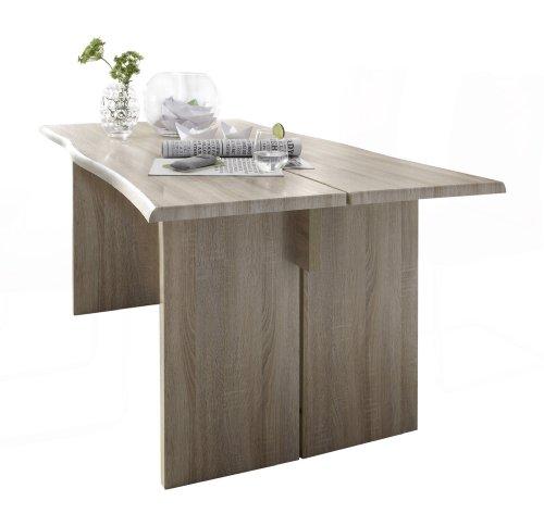 Presto mobilia 11575 Esstisch Designer Tisch Salto 25 180x90x76 cm Sonoma Eiche hell/Eiche sägerau hell