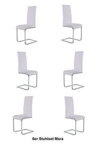 SAM® 6er Sparset Esszimmer Freischwinger Stuhl Mara in weiß mit einem chrom farbenem Gestell Lieferung erfolgt mit einem Paketdienst