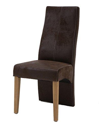 SAM® Design Stoff Stuhl 4789-30 in Wildleder-Optik mit hoher Rückenlehne und eiche-farbenen Holz-Beinen in edlem Design