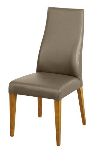 SAM® Echtleder-Stuhl Björn, Polster-Stuhl, Leder-Farbe muddy, Bein-Farbe Eiche massiv, Esszimmer Stuhl aus Dick-Leder, Design-Stuhl mit Rückenlehne leicht geschwungen