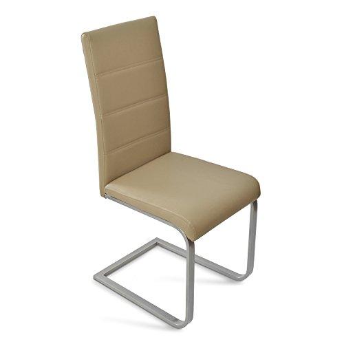 SAM® Esszimmer Freischwinger Stuhl JASMIN in muddy farben mit pulverbeschichtetem Gestell mit Ziernähten an der Rückenlehne Lieferung zerlegt mit einem Paketdienst