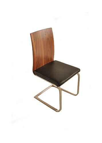 sam freischwinger stuhl lugano in walnuss farben sitzfl che schwarz esszimmerstuhl mit fu in. Black Bedroom Furniture Sets. Home Design Ideas