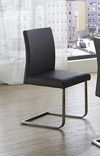 SAM® Polster Stuhl Freischwinger Norderoog in hellgrau, Schwingstuhl mit SAMOLUX®-Bezug, chromfarbene Edelstahlfüße, angenehme Polsterung für optimalen Sitzkomfort