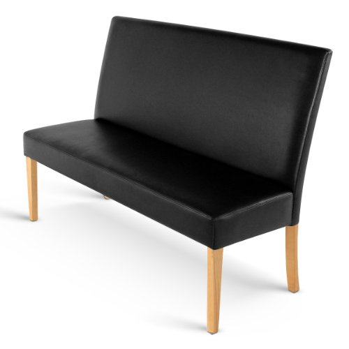 SAM® Sitzbank Sancho III schwarz mit buchfarbenen Beinen 180 cm Pinienholz angenehme Polsterung pflegeleicht teilzerlegt Auslieferung durch Spedition