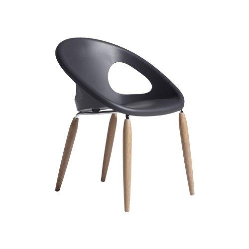Scab Design Designer Stuhl mit Holzbeinen Natural Drop grau