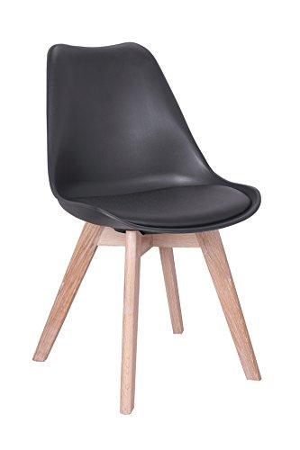 Set von 2gepolsterte Designer Esszimmerstuhl,/Office chair-black oder Sitz weiß, Beine Eiche schwarz