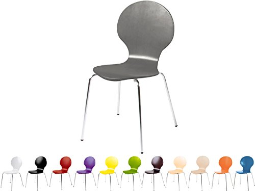 Stapelstuhl Bistrostuhl Stuhl Esszimmerstuhl Küchenstuhl Design Metall Holz stapelbar sehr belastbar Marcus (Grau)