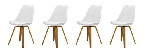 Tenzo 3338-454 Tequila 4er-Set Designer Stühle Ella Plastik weiß / eiche, 54 x 48 x 82 cm