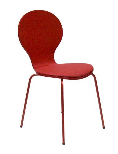 Tenzo 610-028 FLOWER 4-er Set Designer Stühle, Schichtholz lackiert, matt, Sitzkissen in Lederoptik, Untergestell Metall, lackiert, 87 x 46 x 57 cm, rot