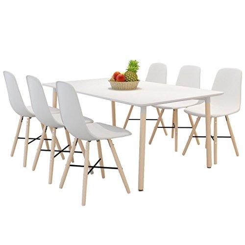 vidaXL Esszimmerstühle ohne Armlehne mit Holzbeinen Weiß 6 Stk