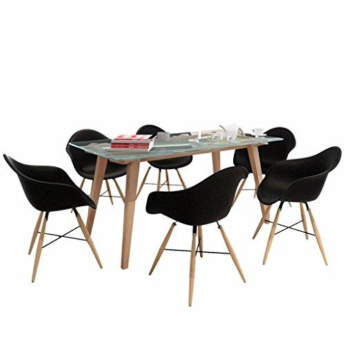 vidaXL Esszimmerstuhl mit Holzbeinen und Armlehnen Schwarz (6 Stück)