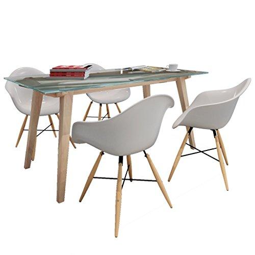 vidaXL Esszimmerstuhl mit Holzbeinen und Armlehnen Weiß (4 Stück)