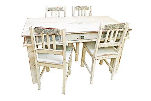 Antikisierter Tisch mit Stühlen - Eiche EVA DESIGN-006
