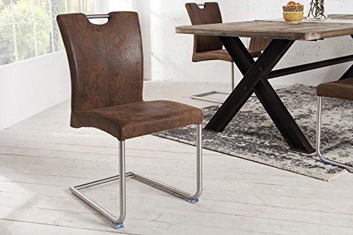 DuNord Design Stuhl Esszimmerstuhl GERIONE Mikrofaser Vintage braun Design Freischwinger